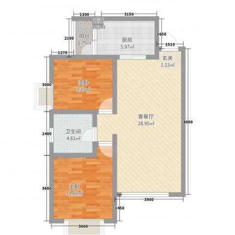 傣泐金湾三期悦江苑2室1厅1卫1厨62.67㎡户型图