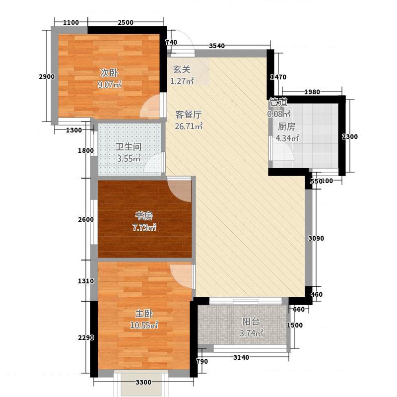 富贵世家3287.87㎡B户型3室2厅1卫1厨