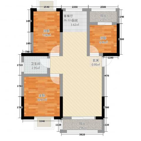 一米阳光・朝阳居3室1厅1卫0厨57.78㎡户型图