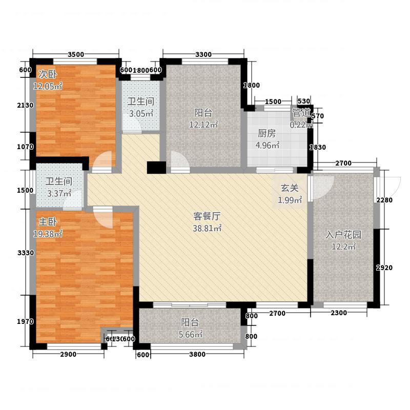 华剑紫金城2133.20㎡D户型2室2厅2卫1厨