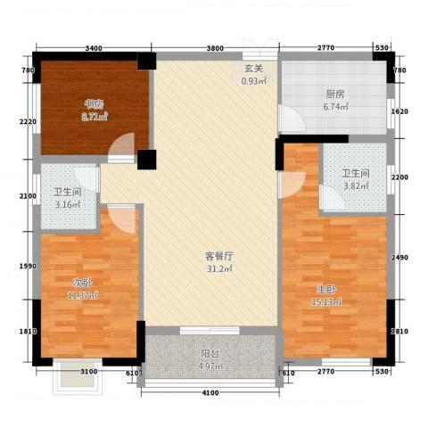 天下城市星座二期3室1厅2卫1厨212.00㎡户型图