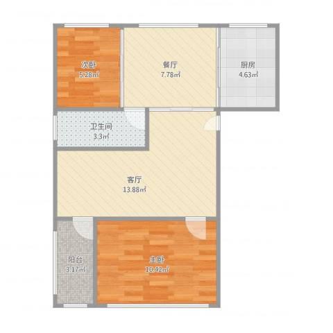 幸福E家五期2室2厅1卫1厨66.00㎡户型图