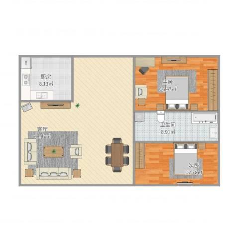 黄石花园2室1厅1卫1厨120.00㎡户型图