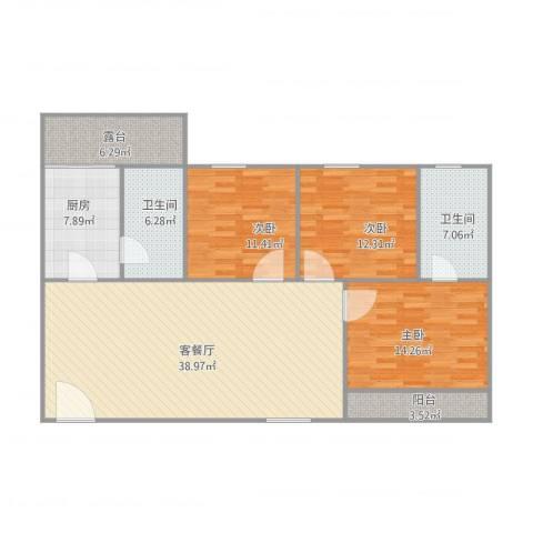 怡翠花园3室1厅2卫1厨144.00㎡户型图