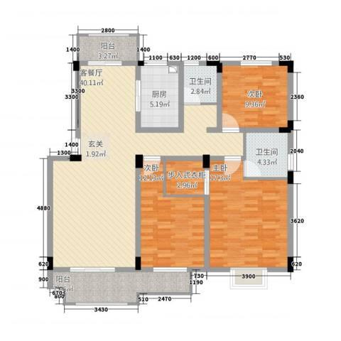 海纳国际3室1厅2卫1厨32127.00㎡户型图