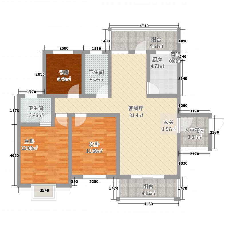 川硐教育园区12.34㎡怡馨苑户型3室2厅2卫1厨