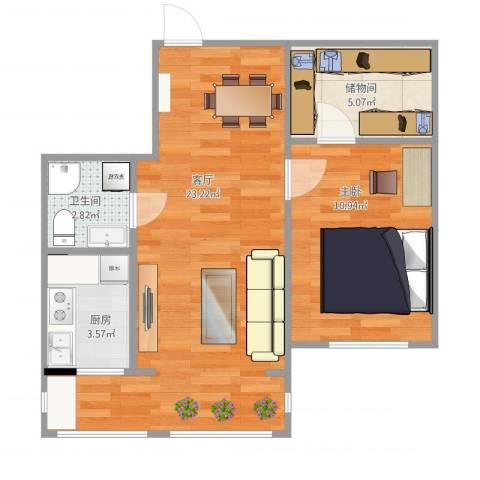 南郡二期丽郡1室1厅1卫1厨62.00㎡户型图