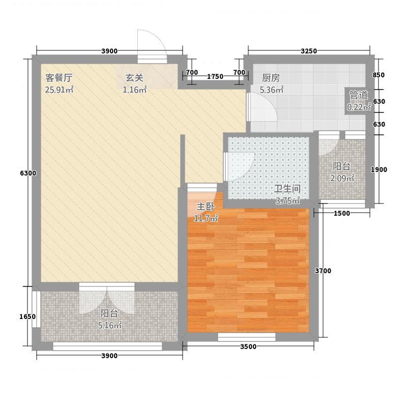 三山岛滨海公馆77.22㎡FLK座B户型1室2厅1卫1厨