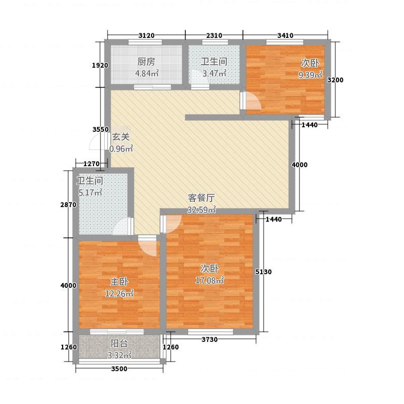 龙福家园127.00㎡标准层户型3室1厅2卫1厨