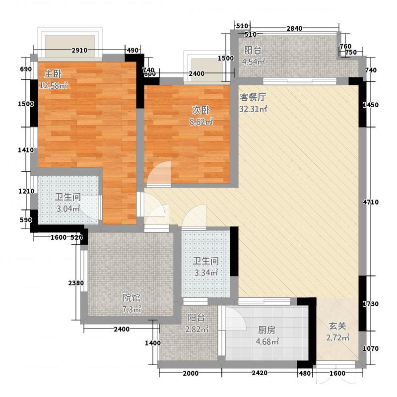 乾丰・紫园2213.20㎡D_户型2室2厅