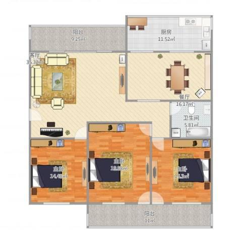 槐荫交警宿舍2号2单元6013室2厅1卫1厨148.19㎡户型图