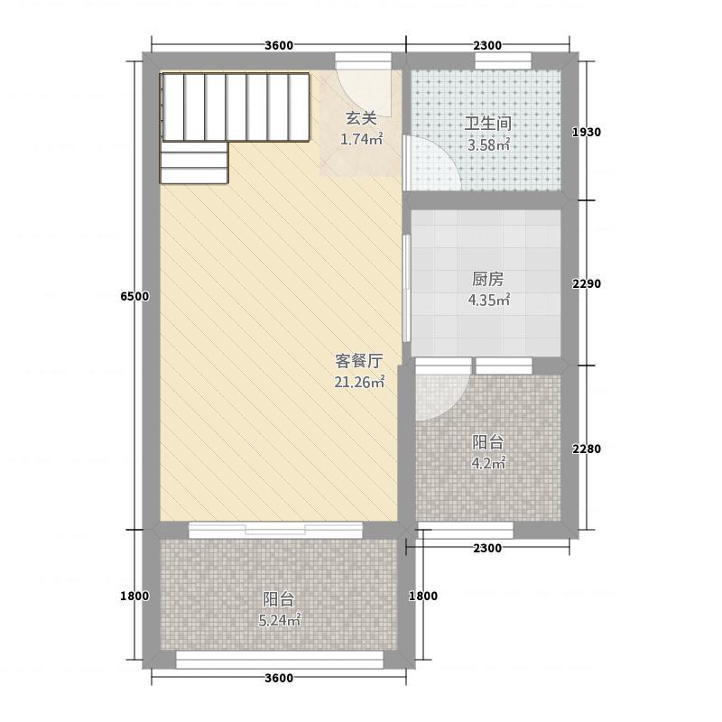 世贸天城73.72㎡A7Loft上层户型2室2厅2卫1厨