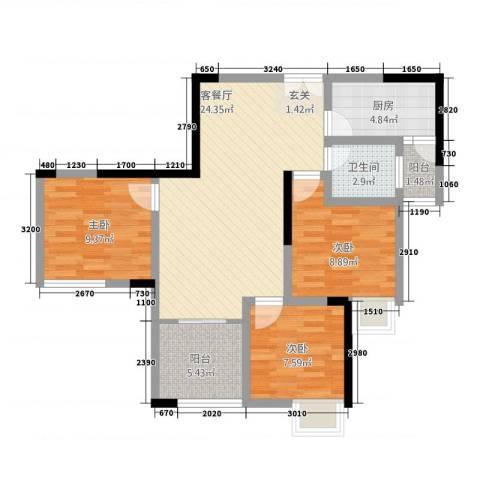 兴盈德润城3室1厅1卫1厨95.00㎡户型图
