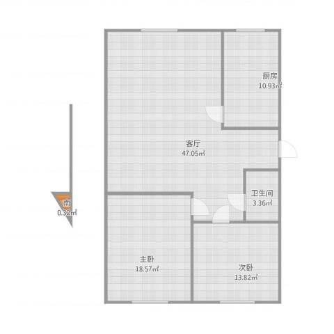 先春园世春里2室1厅1卫1厨124.00㎡户型图