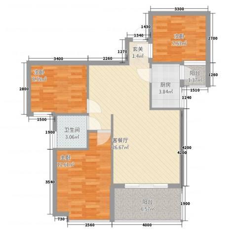 阳光田园国际3室1厅1卫1厨70.10㎡户型图