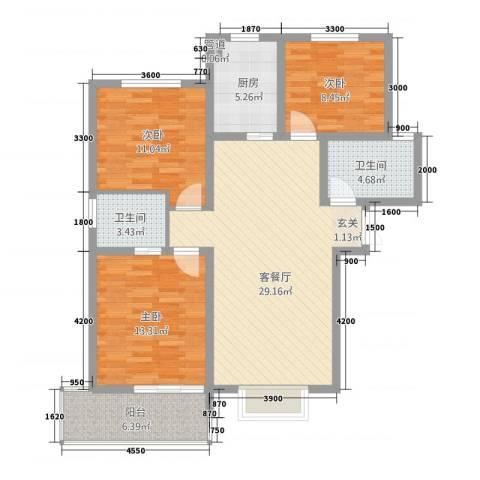 新居时代3室1厅2卫1厨117.00㎡户型图