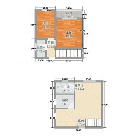 阳光田园国际2室1厅2卫1厨60.47㎡户型图