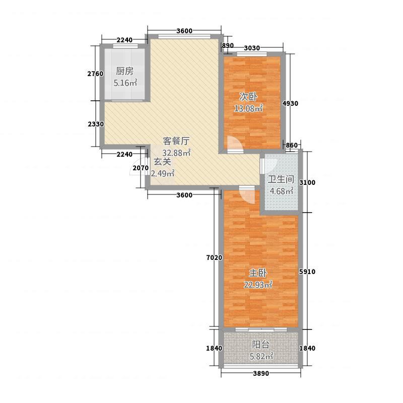 丰润・名苑12.13㎡丰润名苑2-2-1-户型2室2厅1卫1厨