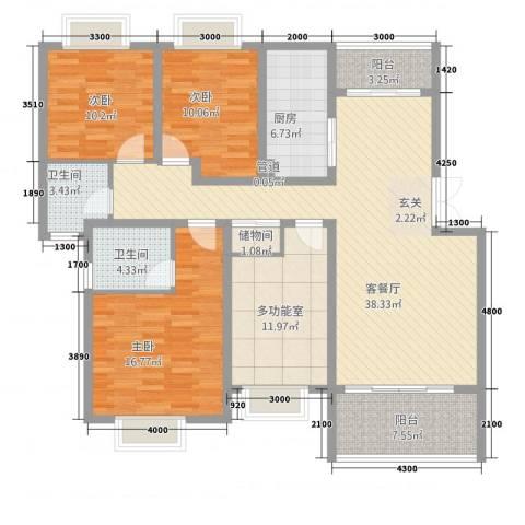 傣泐金湾三期悦江苑3室1厅2卫1厨137.00㎡户型图