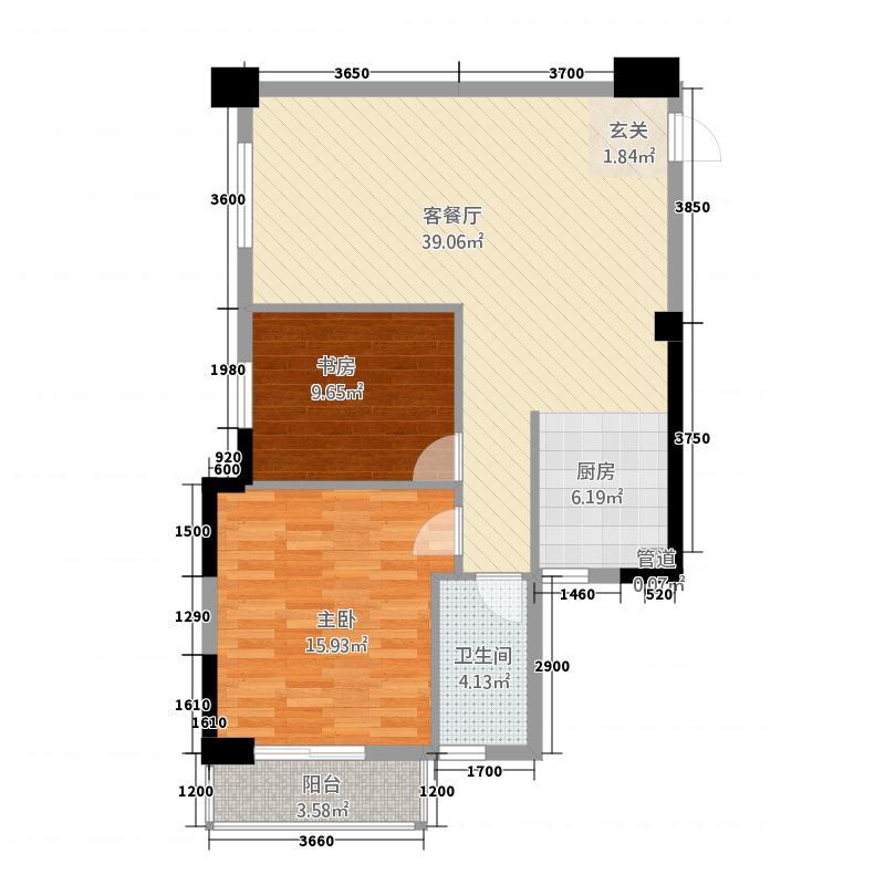 中亿豪庭224.16㎡C户型2室2厅1卫1厨