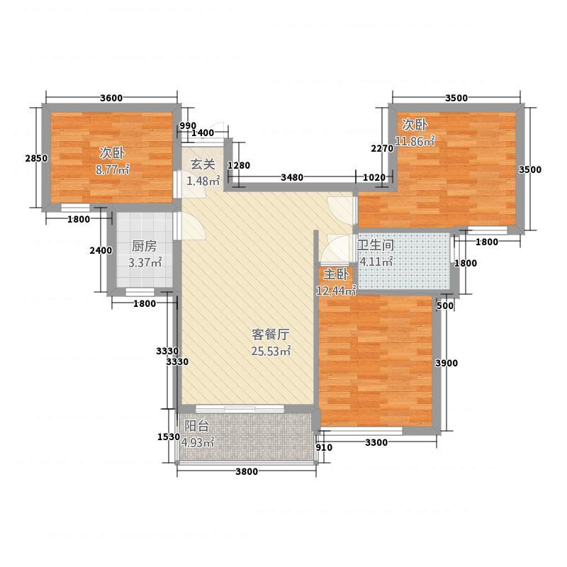 阳光田园国际312.20㎡B-3户型3室2厅2卫1厨