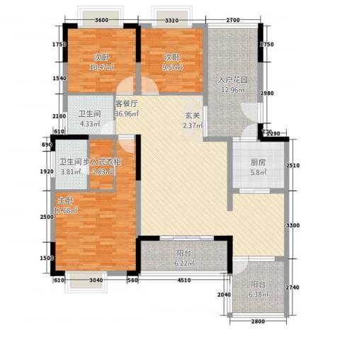 兴盈德润城3室1厅2卫1厨167.00㎡户型图