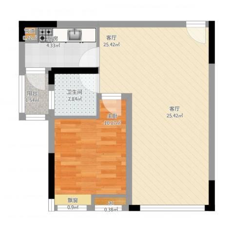 首创光和城1室1厅2卫2厨65.00㎡户型图