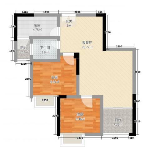 兴盈德润城2室1厅1卫1厨84.00㎡户型图