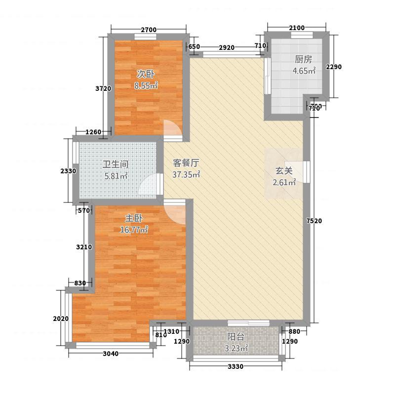 星河嘉城21.52㎡户型2室2厅1卫1厨