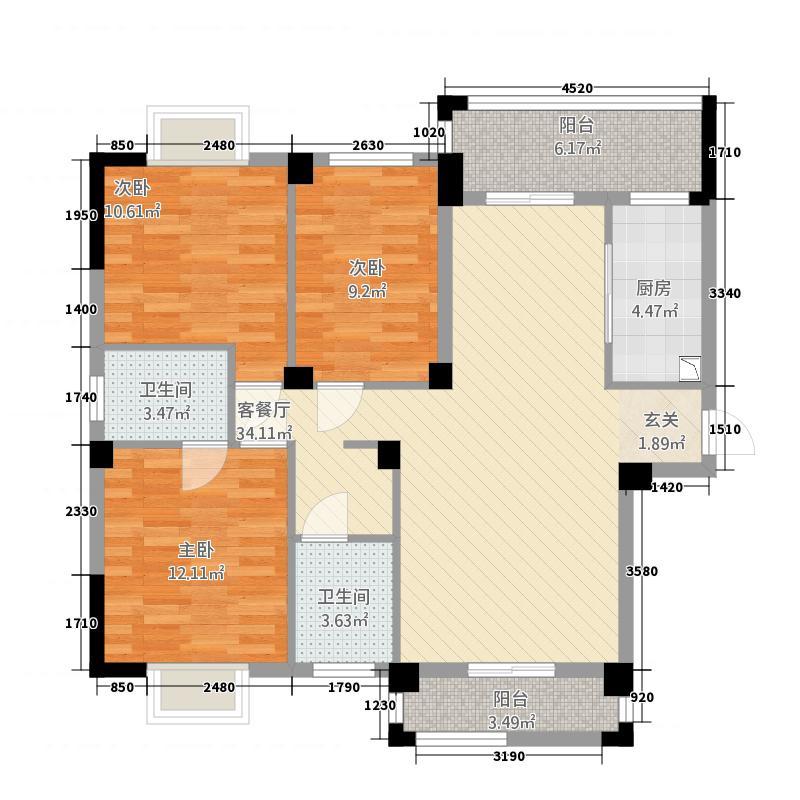 紫金城125.82㎡D型户型3室2厅2卫1厨