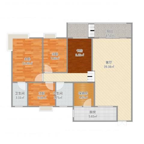 朵力名都(三期)3室1厅2卫1厨124.00㎡户型图
