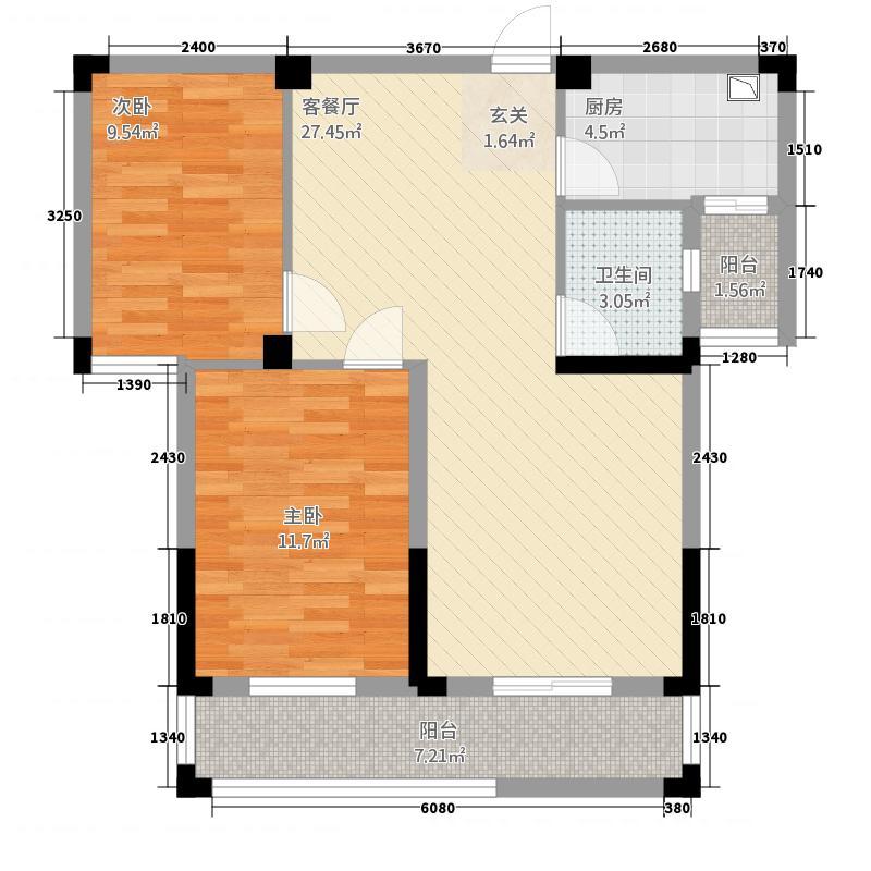 紫金城3.23㎡E型户型2室2厅1卫1厨