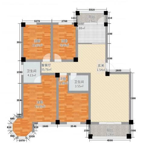 维多利亚花园4室1厅2卫1厨137.00㎡户型图