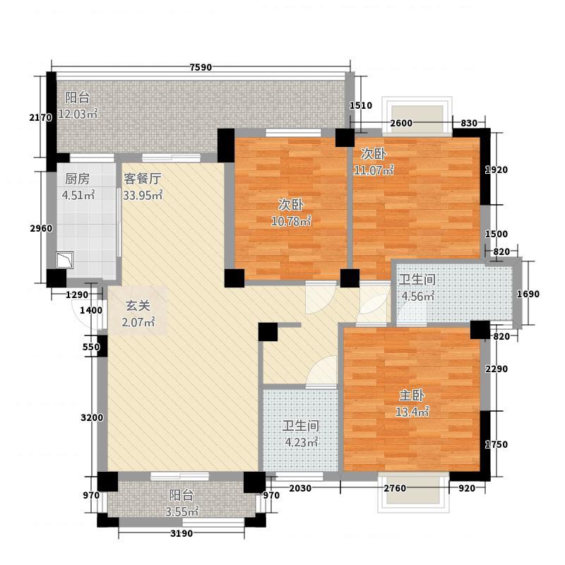 紫金城14.87㎡C型户型3室2厅2卫1厨