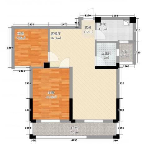 紫金城2室1厅1卫1厨62.88㎡户型图