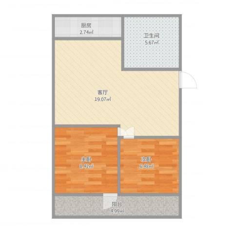 华龙路单位宿舍2室1厅1卫1厨65.00㎡户型图