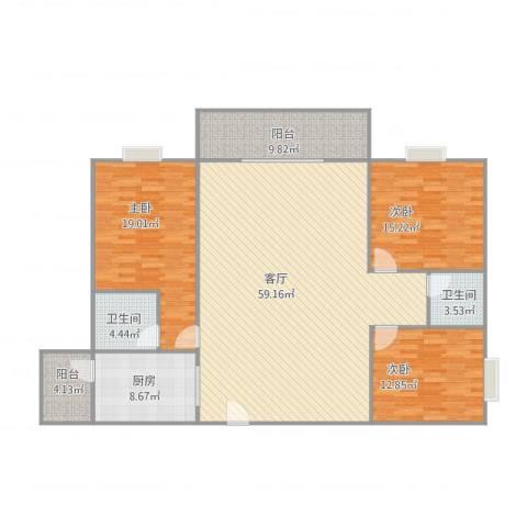 乐宜居3室1厅2卫1厨181.00㎡户型图