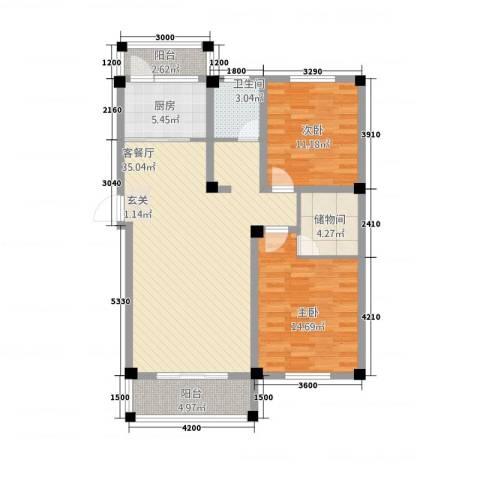维多利亚花园2室1厅1卫1厨81.25㎡户型图