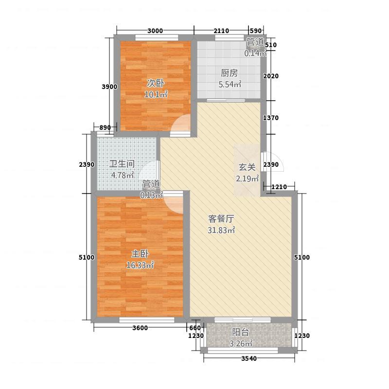 铜锣湾1225.37㎡H1户型2室2厅1卫1厨