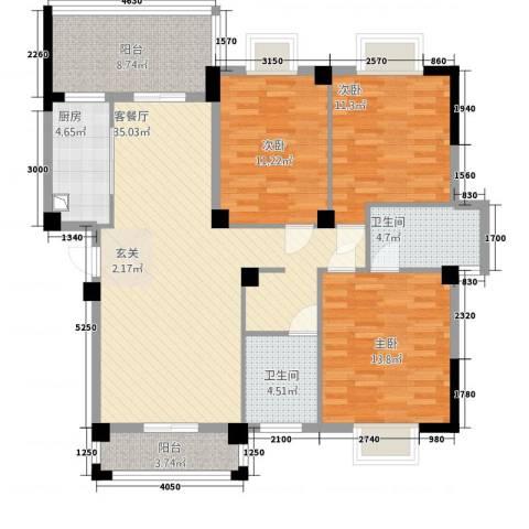 紫金城3室1厅2卫1厨1138.00㎡户型图