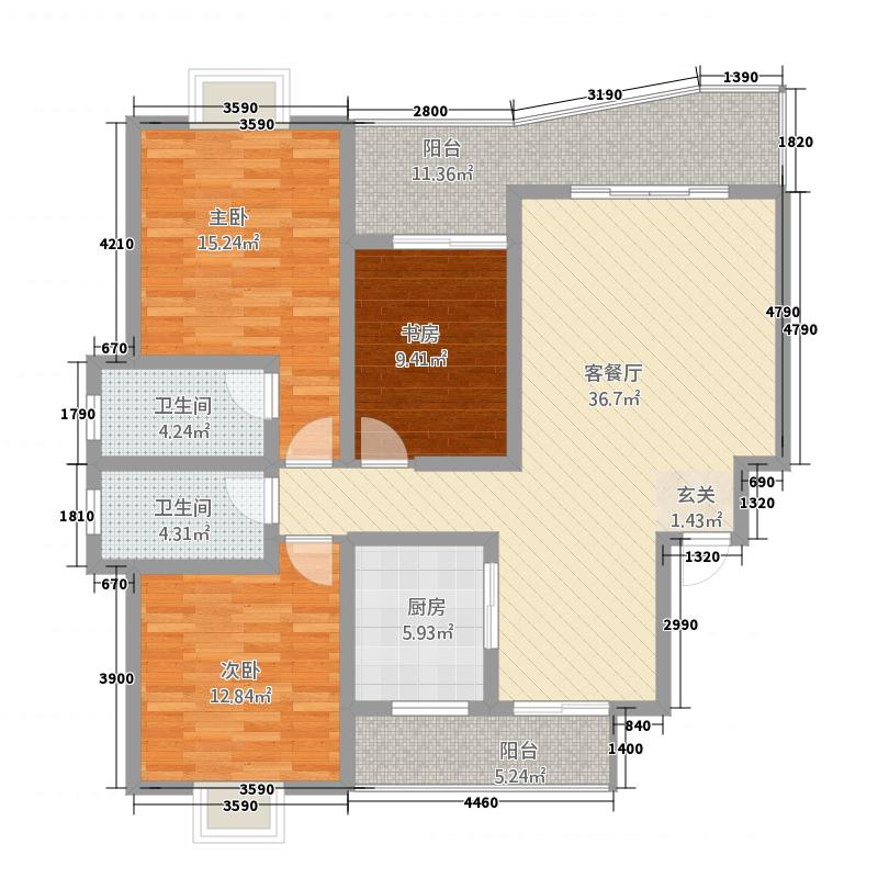 中央山水23141.20㎡A2户型3室2厅2卫1厨