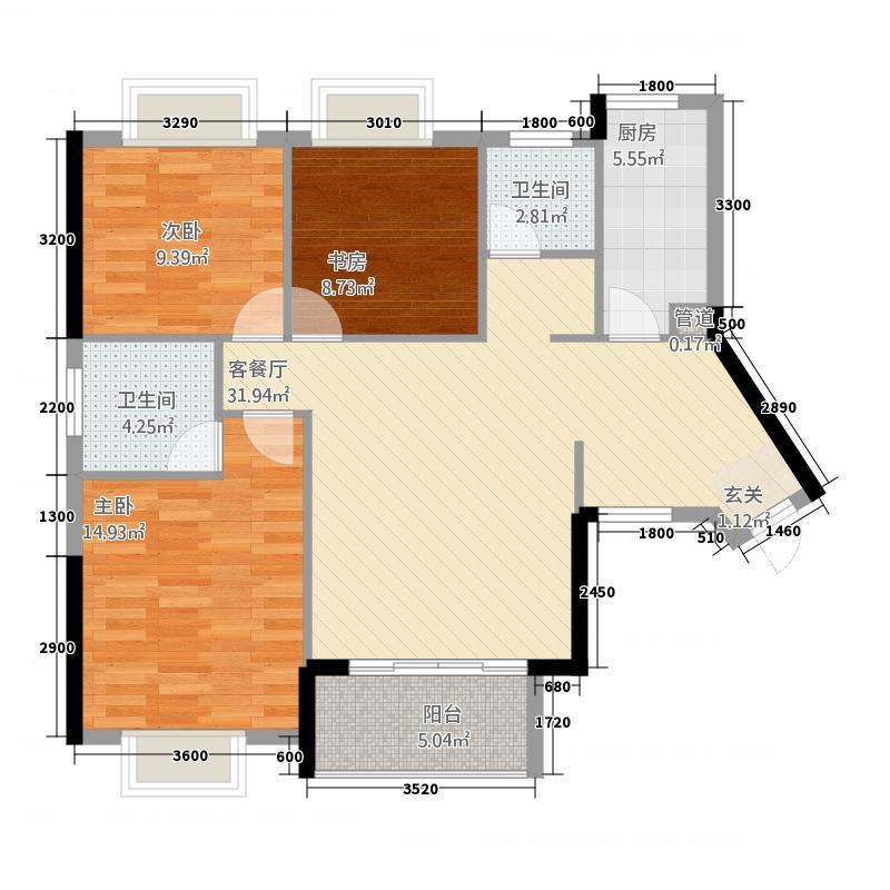 富贵世家13114.46㎡C1户型3室2厅2卫1厨