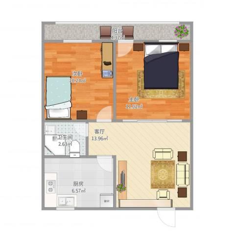 历城五中宿舍2室1厅1卫1厨67.00㎡户型图
