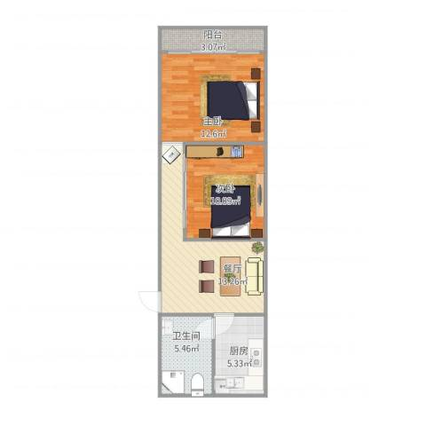 吉浦路615弄小区2室1厅1卫1厨53.00㎡户型图