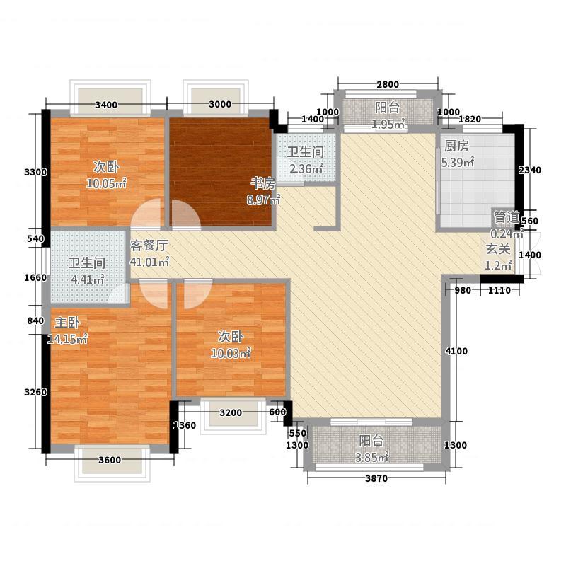 富贵世家42136.64㎡A户型4室2厅2卫1厨