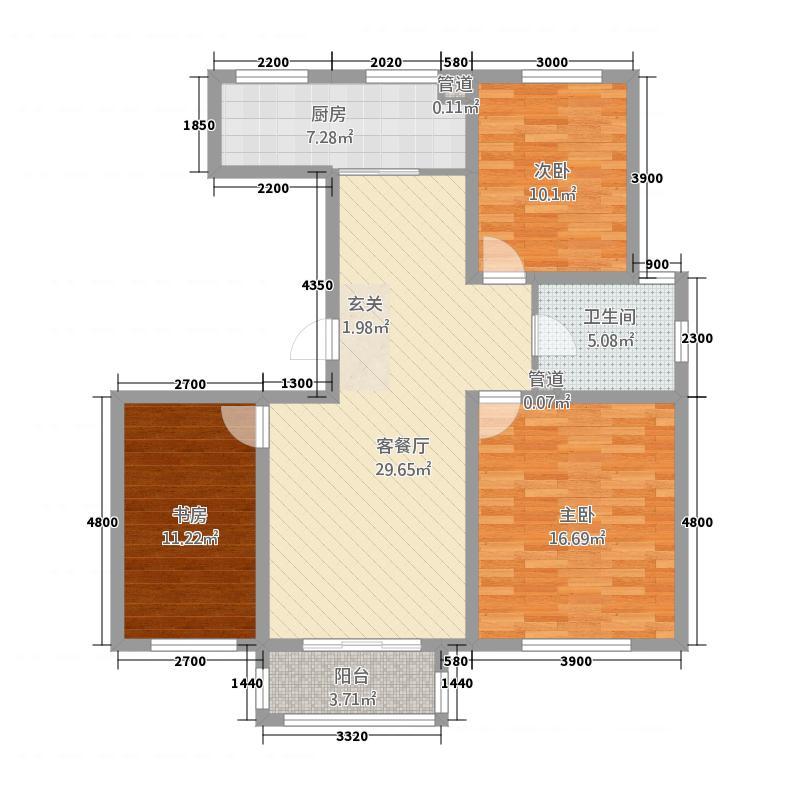 铜锣湾232114.81㎡G2户型3室2厅1卫1厨
