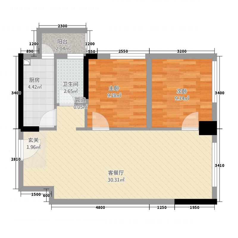 万千城76.52㎡一期A区L型标准层B-1户型2室2厅1卫1厨