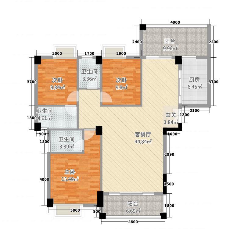 美嘉华庭3162.68㎡一期3号楼标准层02户型3室2厅3卫1厨