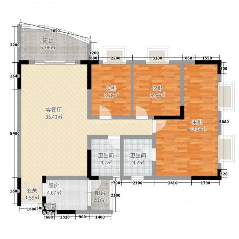 尚赏居3室1厅2卫1厨128.00㎡户型图
