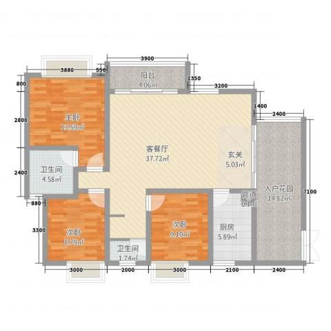 傣泐金湾三期悦江苑3室1厅2卫1厨124.00㎡户型图
